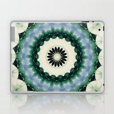 White Flower and Cerulean Blue Mandala Laptop & iPad Skin