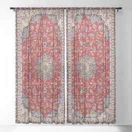Fine Silk & Wool Isfahan Persian Rug Print Sheer Curtain