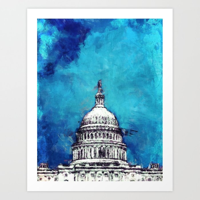 Stormy Weather Over The Capitol Art Print