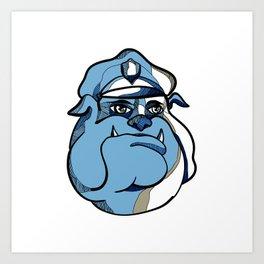 Bulldog Policeman Head Drawing Art Print