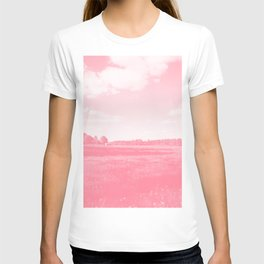 meadow barn clouds pw T-shirt