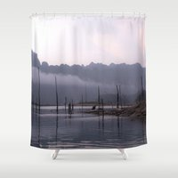 grey Shower Curtains featuring Grey by Armine Nersisian