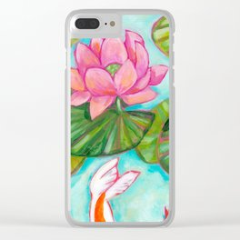 Koi Fish in Lotus Lily Pad pond painting by Tascha Parkinson Clear iPhone Case