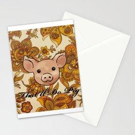 Retro Floral Piggy Stationery Cards
