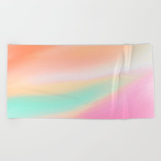 Digital painted texture illustration, pastel soft colors Beach Towel
