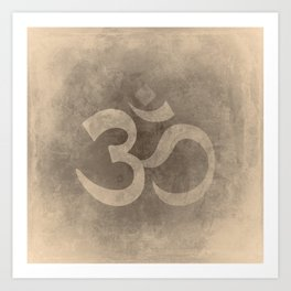 Buddhist symbol Ohm on a grunge background sepia tones Art Print