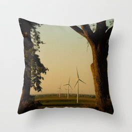 Sunset Turbines in Nature Throw Pillow