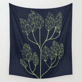 Leaf-like Sumac on Navy Wall Tapestry