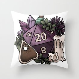 Witchy D20 Tabletop RPG Gaming Dice Throw Pillow