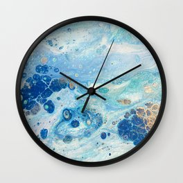 Under the Sea - Blue Abstract Acrylic Pour Art Wall Clock