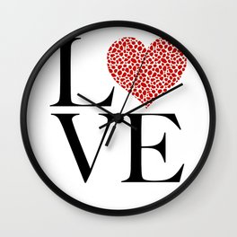 Love Red Love Heart Valentines Day Wall Clock