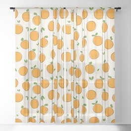 Seamless fruit pattern. Hand drawn doodle oranges  Sheer Curtain