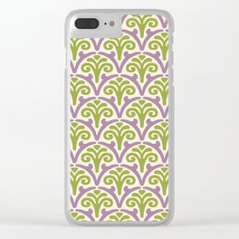 Floral Scallop Pattern Lavender and Chartreuse Clear iPhone Case