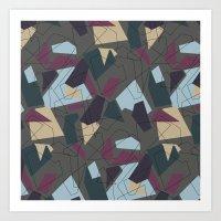 Geometric colour on grey Art Print