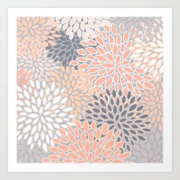 Flowers Abstract Print, Coral, Peach, Gray Art Print