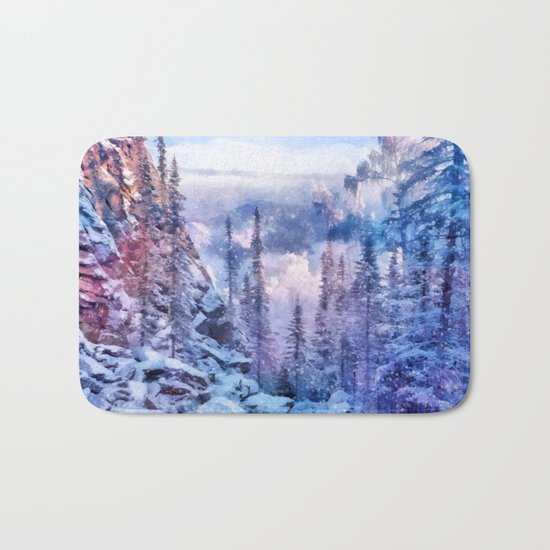 Winter forest in the mountains II Bath Mat