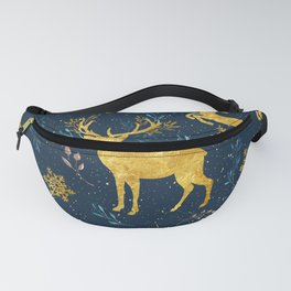 Golden Reindeer Fanny Pack