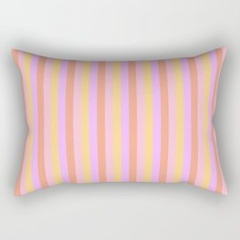 Hibiscus Hawaiian Flower Cabana Stripes in Pink, Yellow, Peach and Lilac Rectangular Pillow