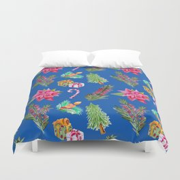Christmas Pattern with Australian Native Bottlebrush Flower Duvet Cover