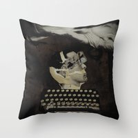 typewriter Throw Pillows featuring Typewriter by Tom Melsen