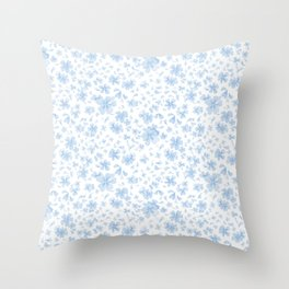 Blue Blooms Throw Pillow
