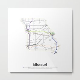 Highways of the USA – Missouri Metal Print