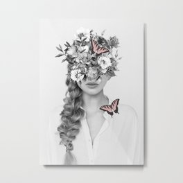 woman with flowers and butterflies 9a Metal Print