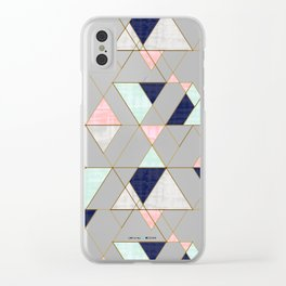 Mod Triangles - Navy Blush Mint Clear iPhone Case