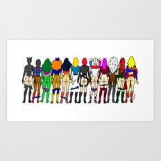 Superheroine Butts - Group Art Print