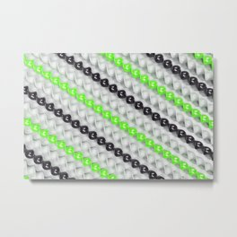 White, black and green spirals Metal Print