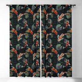 Meditative Koi Fish Pattern Black Blackout Curtain
