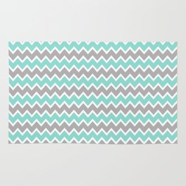 Aqua Turquoise Blue and Grey Gray Chevron Rug