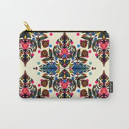 Bright Folk Art Pattern - hot pink, orange, blue & green Carry-All Pouch