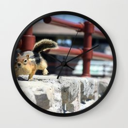 He Comes 'Runnin' For Those Crumbs Wall Clock