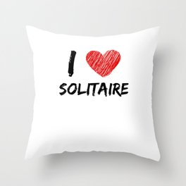I Love Solitaire Throw Pillow