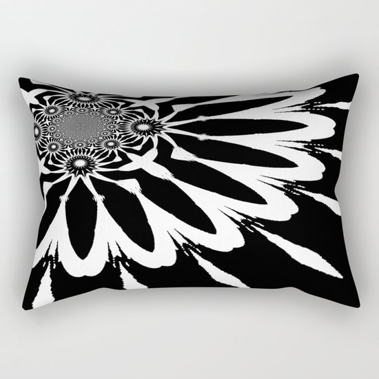 The Modern Flower Black & White Rectangular Pillow