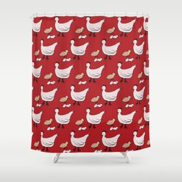 Country Chickens and Eggs Pattern Shower Curtain