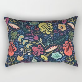 Navy Vintage Floral // Hand Drawn Funky Flowers, Bright & Cheery Rectangular Pillow