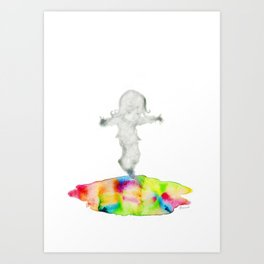 Girl jumping rainbow puddle Art Print