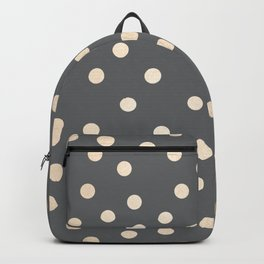 Simply Dots White Gold Sands on Storm Gray Backpack