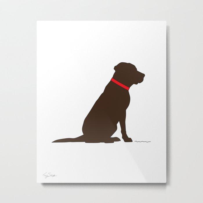 Modern Chocolate Lab Silhouette Metal Print