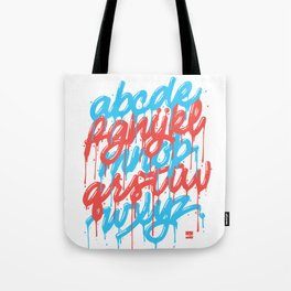 Dripset Alphabet - Blue on Red Tote Bag