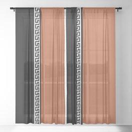 Greek Key 2 - Brown and Black Sheer Curtain