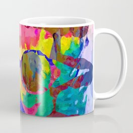 old vintage funny skull art portrait with painting abstract background in red pink yellow green blue Coffee Mug