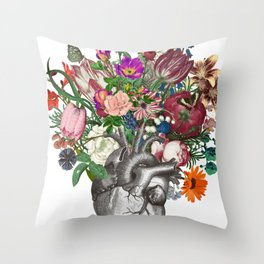 Anatomical heart and flowers Throw Pillow