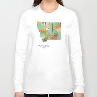 montana Long Sleeve T-shirts featuring Montana state map  by bri.buckley