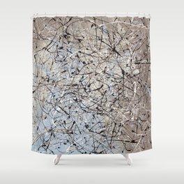 High Again - Jackson Pollock style abstract drip painting by Rasko Shower Curtain