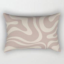 Liquid Swirl Retro Abstract Pattern in Creamy Cocoa Rectangular Pillow