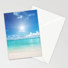 Beach Sun Clouds Ocean Blues Sunshine Waves Seaside Stationery Cards