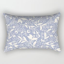 Soft Blue and White Floral Pattern  Rectangular Pillow